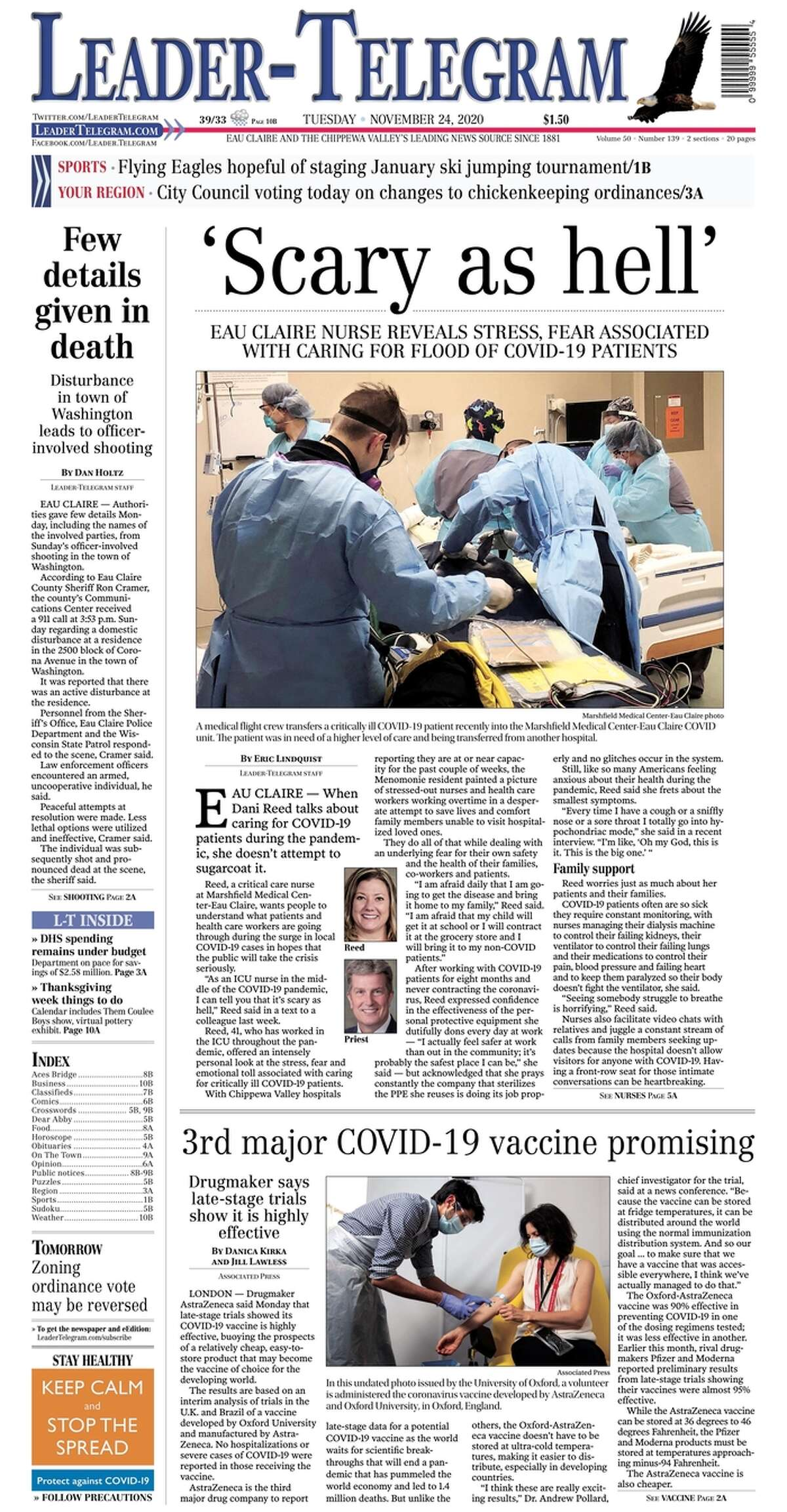 The front page of theLeader-Telegram, a Wisconsin newspaper focused on the Eau Claire and Chippewa Valley, on Nov. 24, 2020.