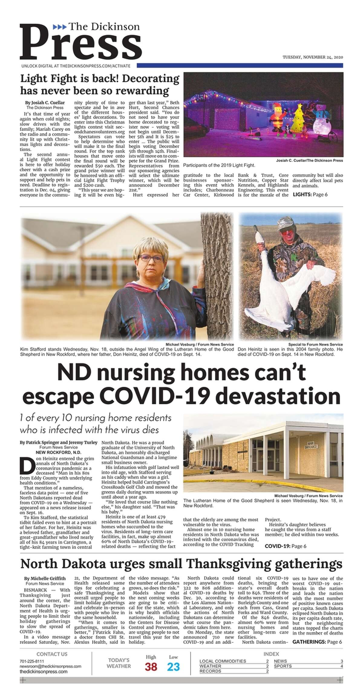 The front page of the Dickinson Press, a North Dakota newspaper, on Nov. 24, 2020.