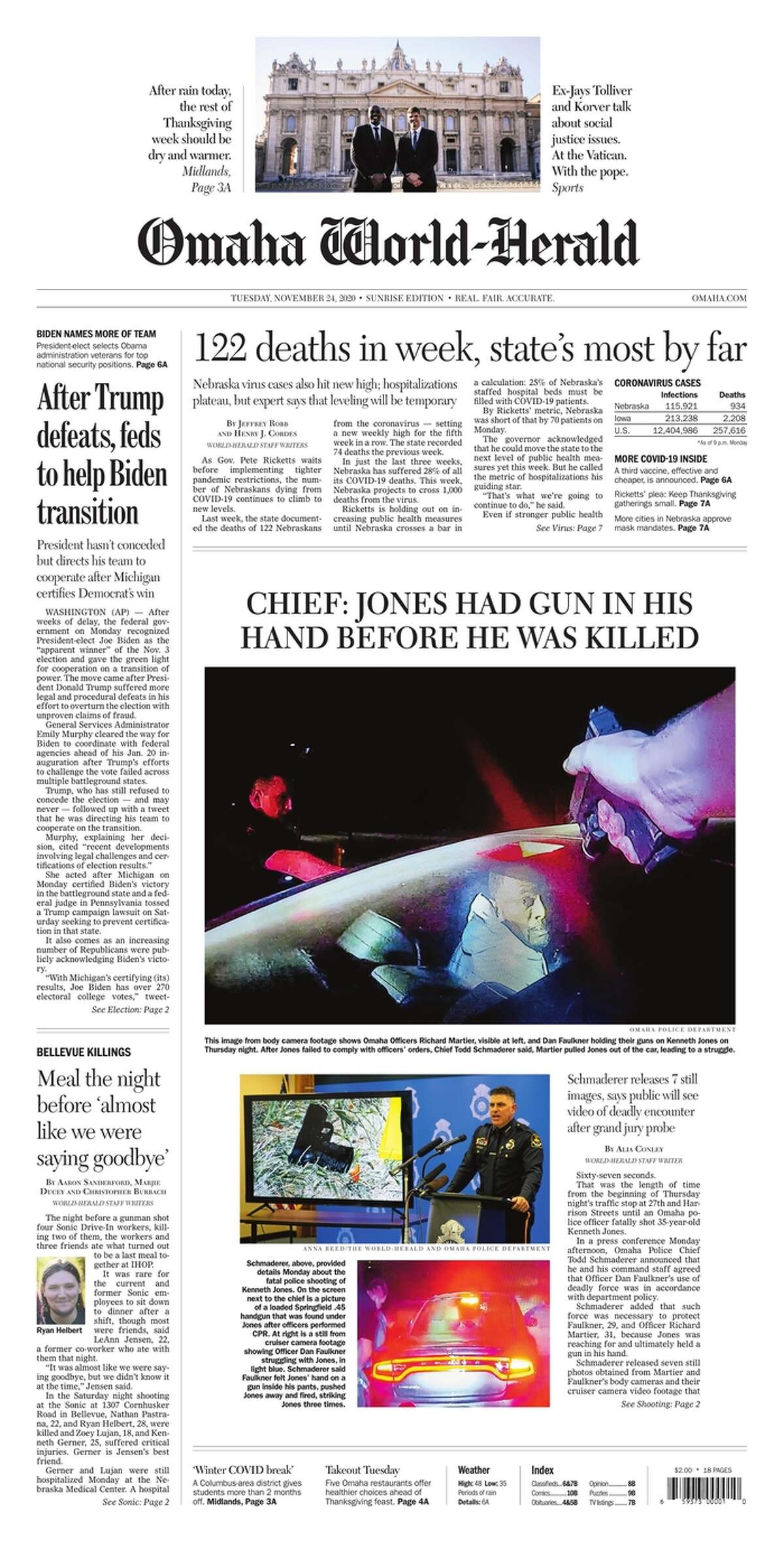 The front page of the Omaha World-Herald a daily newspaper published in Nebraska, on Nov. 24, 2020.