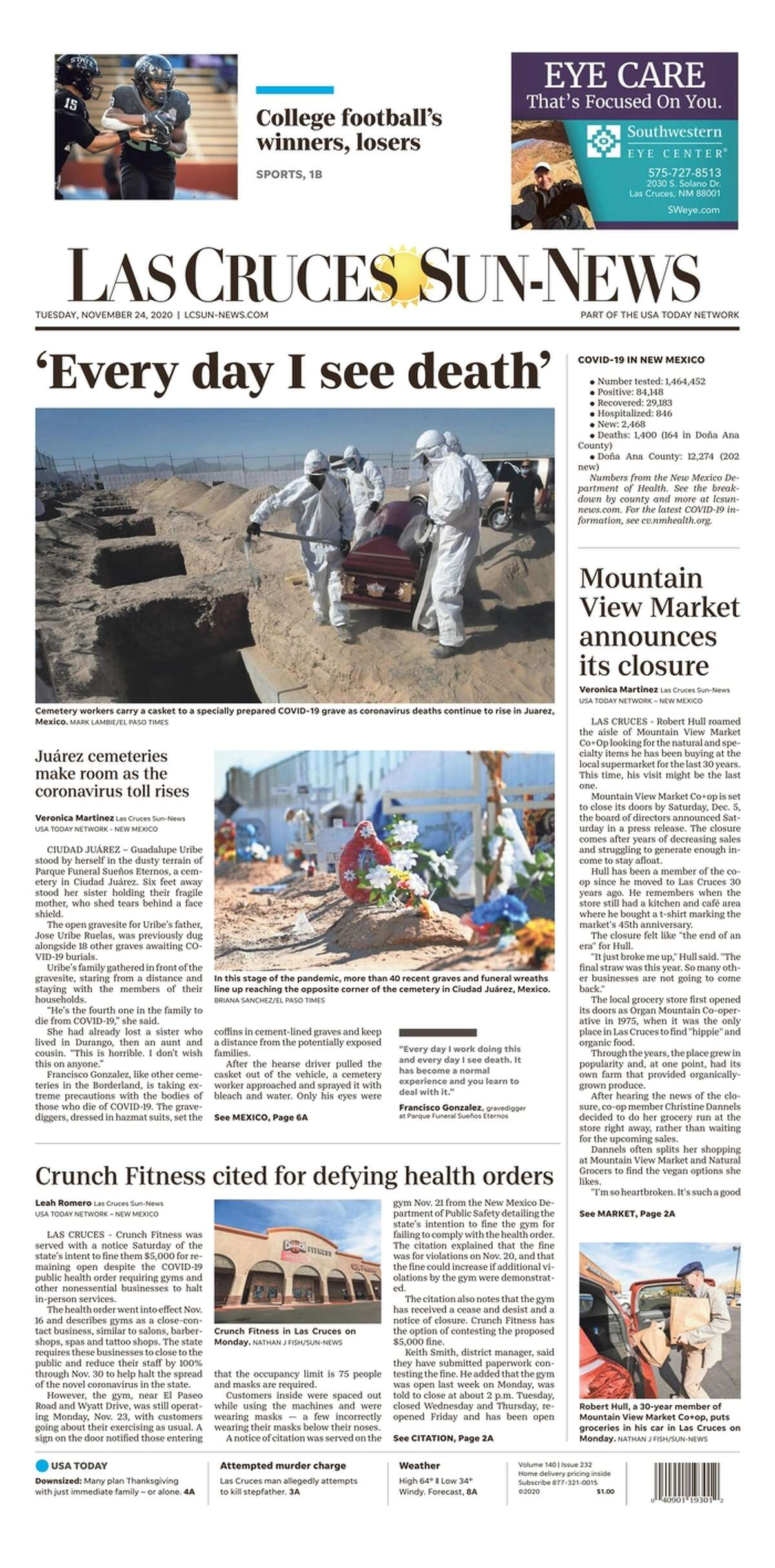 The front page of the Las Cruces Sun-News, a daily newspaper published in New Mexico, on Nov. 24, 2020.