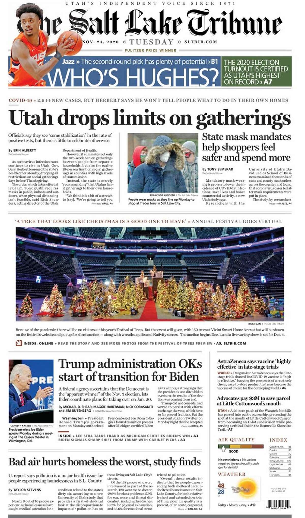 The front page of the Salt Lake Tribune, a Utah newspaper, on Nov. 24, 2020.