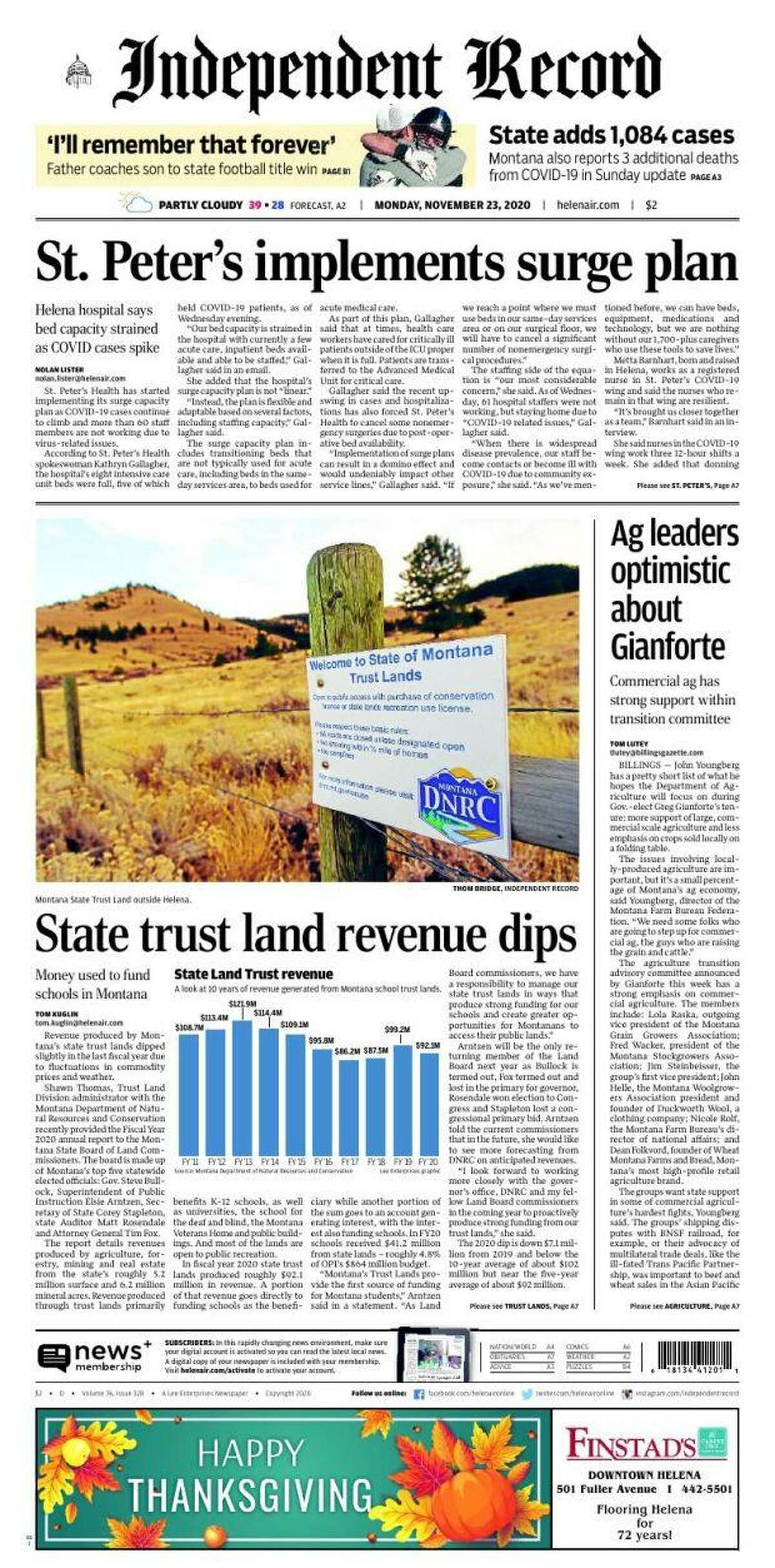 The front page of the Independent Record, a newspaper published in Helena, Mont., on Nov. 24, 2020.