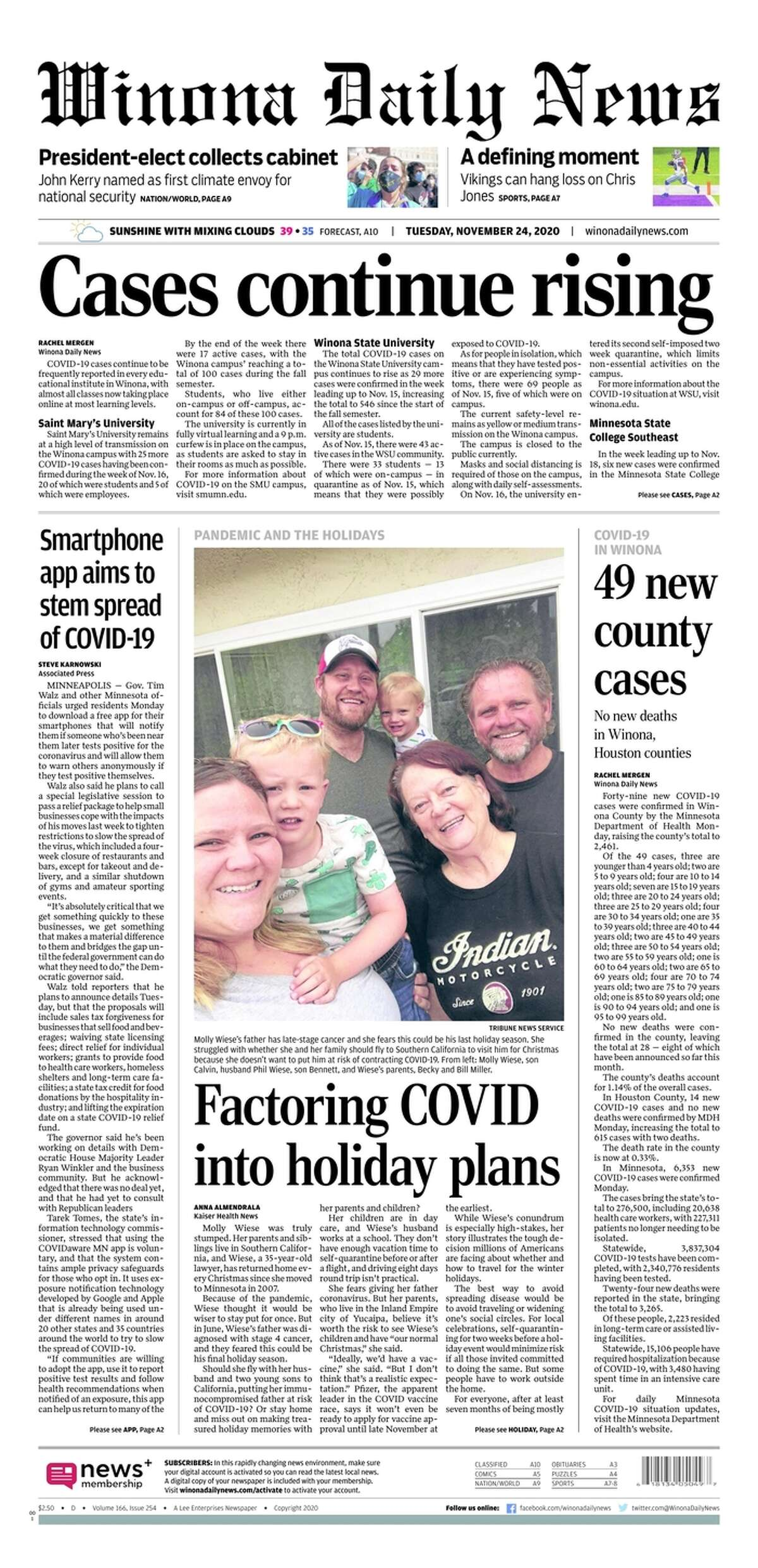 The front page of the Winona Daily News, a Minnesota newspaper, on Nov. 24, 2020.