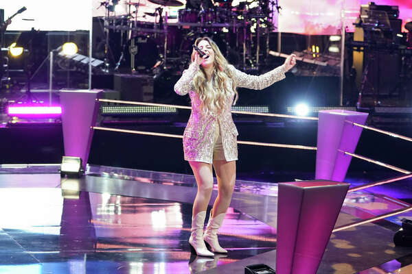 "Middlebury, Connecticut native Taryn Papa sings during the Battle Rounds on ""The Voice."""