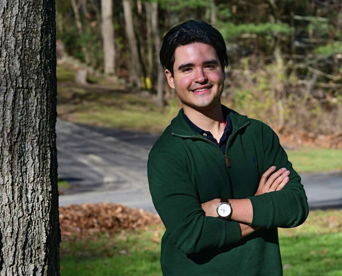 Santiago Potes, who has for the past few months been staying with the Engelmyer family in Niskayuna, learned over the weekend that he had received the prestigious Rhodes Scholarship on Tuesday, Nov. 24, 2020 in Niskayuna, N.Y. (Lori Van Buren/Times Union)