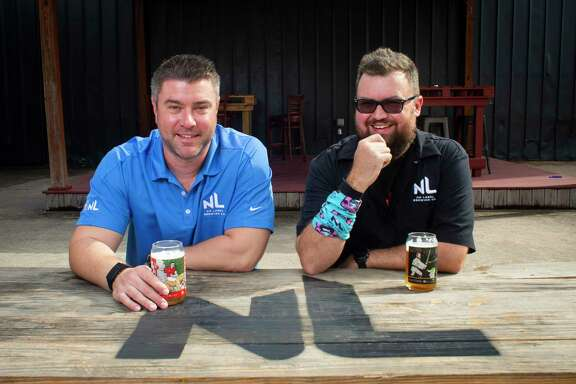 Co-owners Garrett Hart and Tom Paynter at No Label Brewing in Katy on Friday, November 20, 2020. The brewery is ramping to celebrate its 10th anniversary.