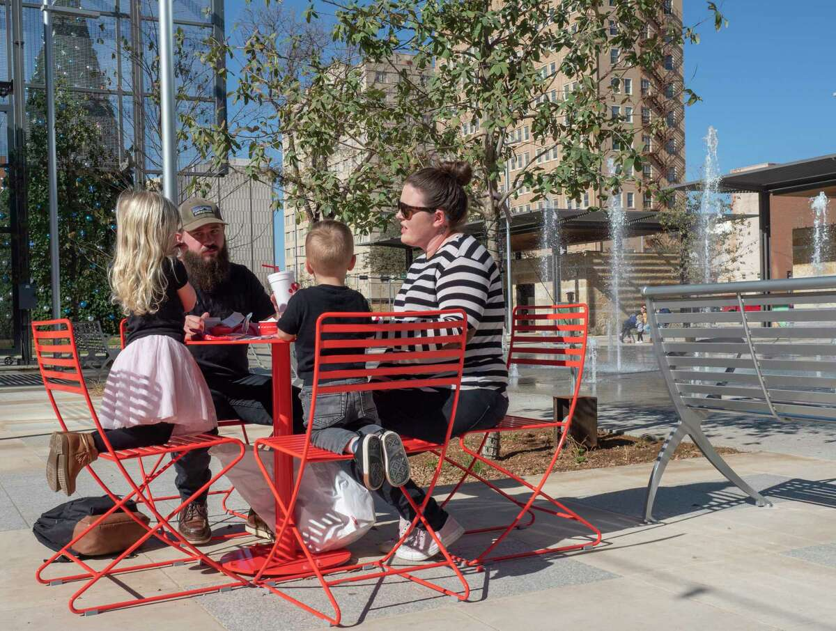 Families take advantage of warm weather 11/24/2020 late morning to enjoy lunch in the newly opened Centennial Plaza in downtown Midland Tim Fischer/Reporter-Telegram.