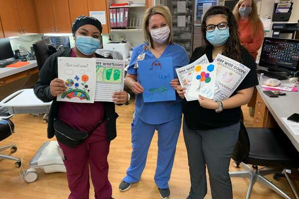 Elementary students from Plainview Independent School District crafted handmade 'thank you' and 'get well soon' cards for hospitalized COVID-19 patients and hospital caregivers. The cards were recently delivered and some were placed on display in the hospital's cafeteria.