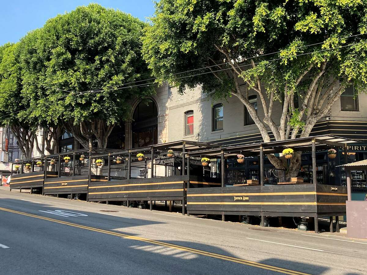 Devil's Acre on Columbus Avenue in San Francisco is one of the city's more structurally accomplished dining parklets.