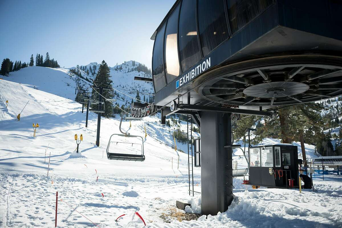 The Exhibition chairlift at Squaw Valley ski resort in North Lake Tahoe in November 2020