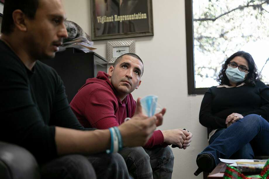 Hector Bribiescas, center, and Carlos Montez Jr., left, talk about their long wait for answers since their respective daughters, London Bribiescas, 10, and Alexa Montez, 16, were found shot to death with the girls' mother, Nichol Olsen, almost two years ago. The shootings are still being investigated by the Bexar County Sheriff's Office. At right is Hector Bribiescas' sister and London's aunt, Emma Bribiescas Mancha Sumners. Photo: Lisa Krantz /Staff Photographer / San Antonio Express-News