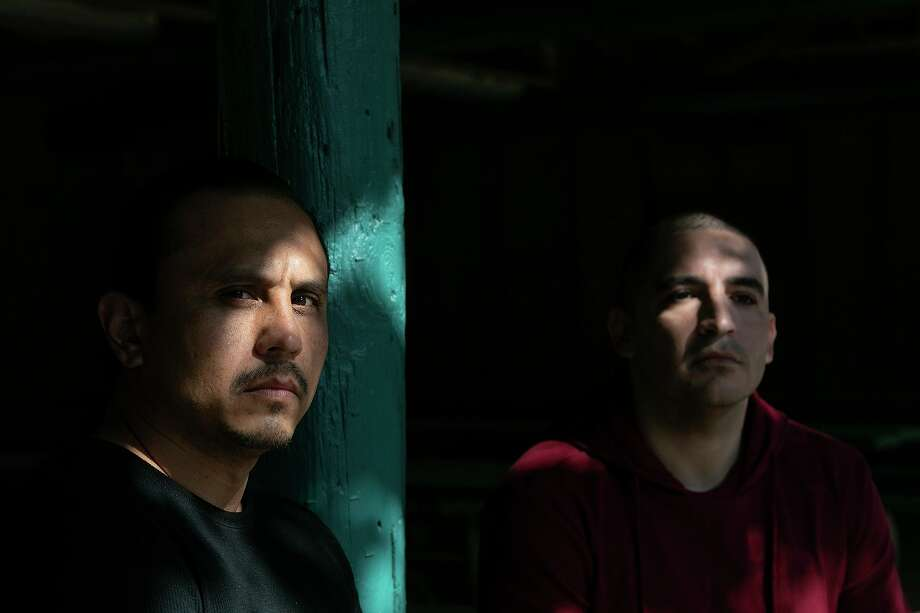 Carlos Montez Jr., left, sits with Hector Bribiescas at a San Antonio park this week. Their respective daughters, Alexa Montez, 16, and London Bribiescas, 10, were found shot to death with the girls' mother, Nichol Olsen, at a luxury home in Anaqua Springs Ranch almost two years ago. The Bexar County Sheriff's Office is still investigating. Photo: Lisa Krantz /Staff Photographer / San Antonio Express-News