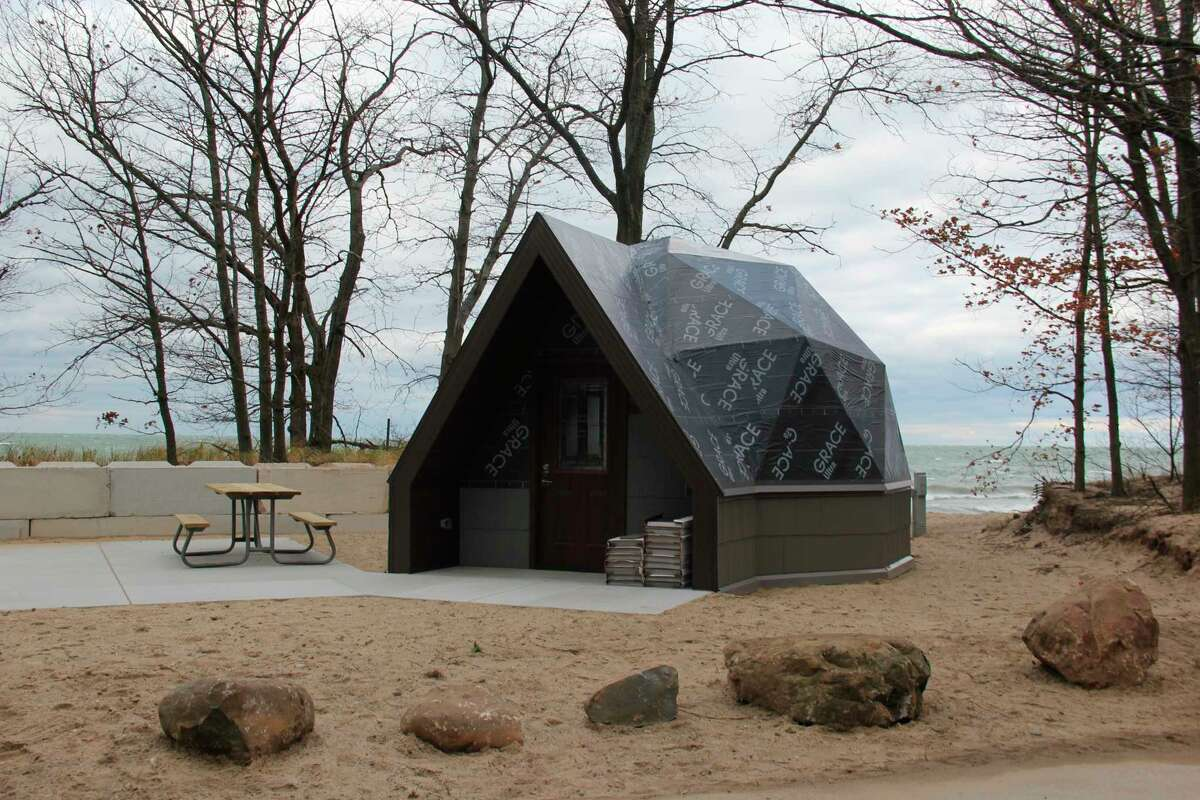 One of the under construction geodesic domes at Port Crescent State Park. (Robert Creenan/Huron Daily Tribune)