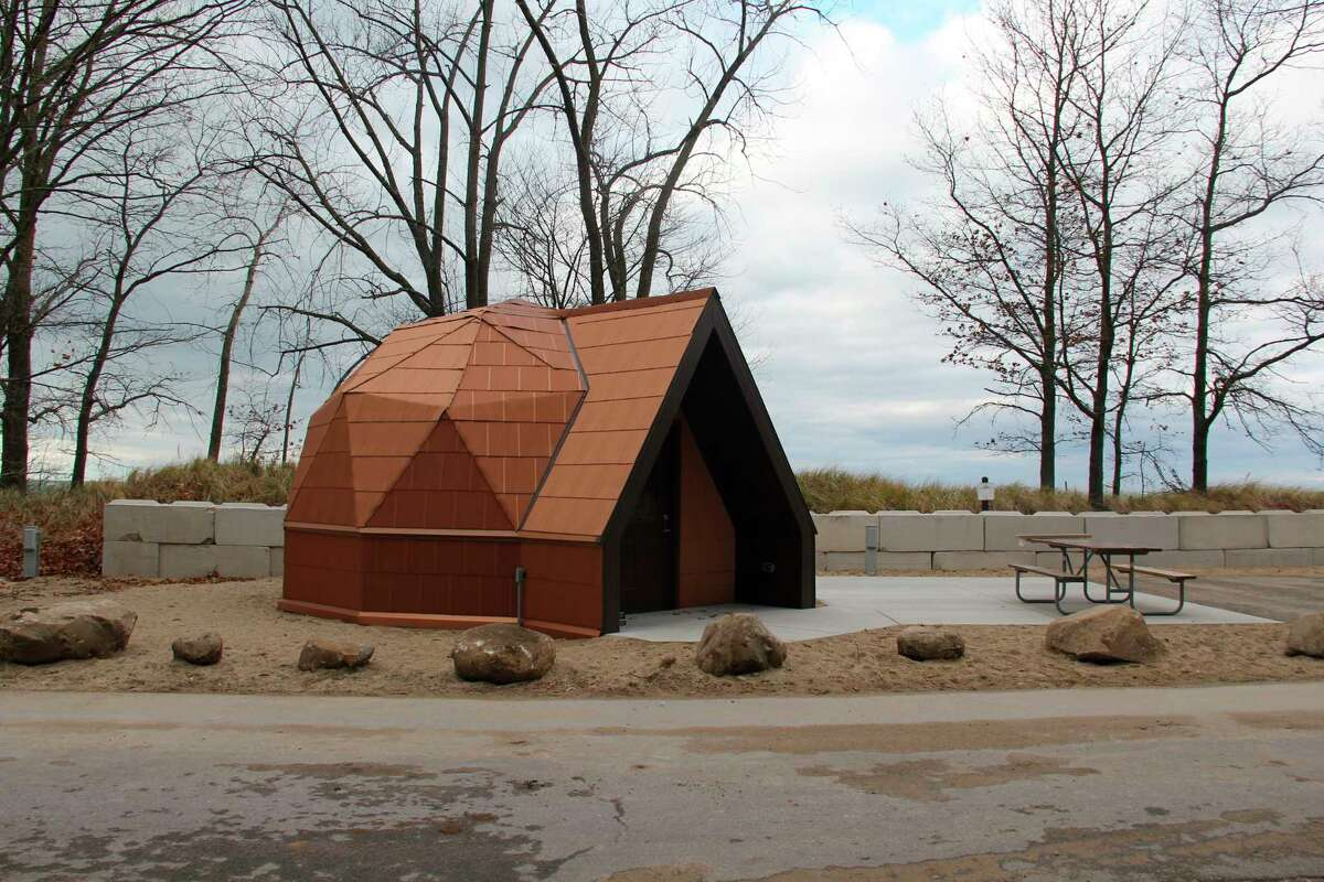 One of the under construction geodesic domes at Port Crescent State Park. The two domes will soon be available to rent for the 2021 camping season. (Robert Creenan/Huron Daily Tribune)