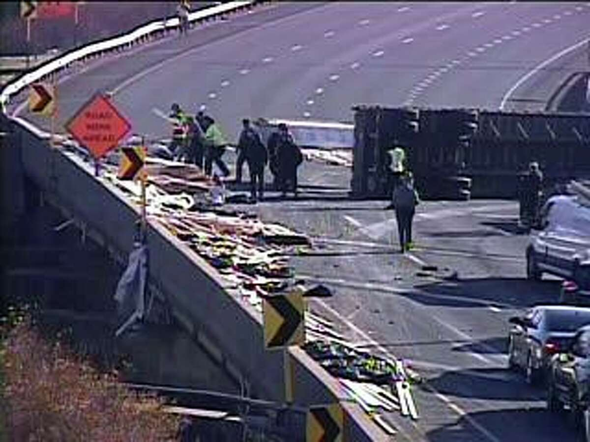 Part of I-95 south is closed in Hartford because of an overturned tractor-trailer truck Tuesday afternoon on Nov. 24, 2020.