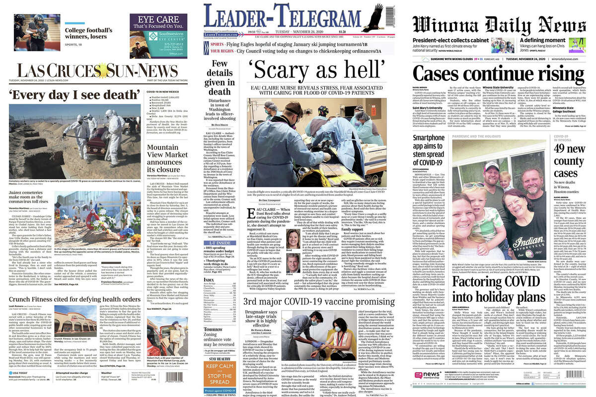 Front pages from the Las Cruces Sun-News, the Leader-Telegram and the Winona Daily News.