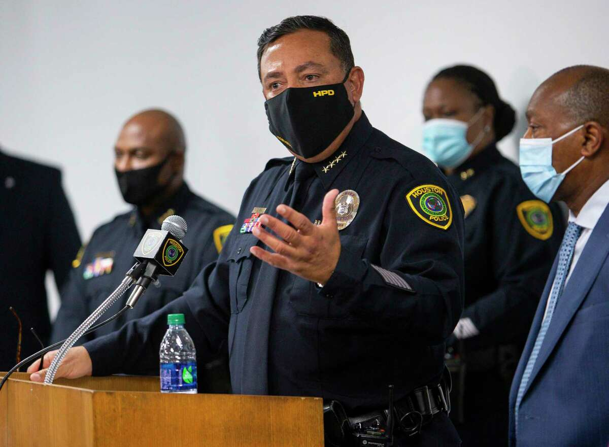 Houston Police chief Art Acevedo at a press conference at the Edward A. Thomas building on Thursday, Sept. 10, 2020, in Houston.