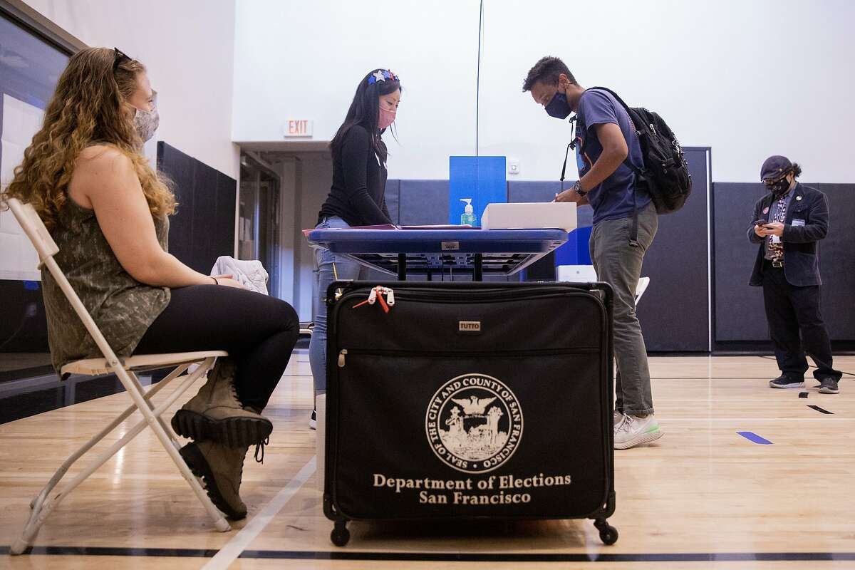 Thomas Namara, 24, finishes up voting at a polling place inside an apartment building gym along Van Ness Avenue in San Francisco, Calif. Tuesday, November 3, 2020. Bay Area residents headed to the polls on Election Day to cast their vote in local and national elections. Polling places are expecting less in-person voter this year due to the increase in mail-in and drop-off ballots.