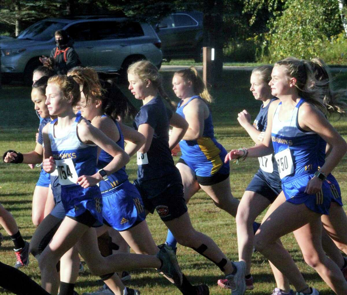 Morley Stanwood Mohawk girl runners get off to the start of the Evart Invitational in mid-September. (Pioneer file photo)