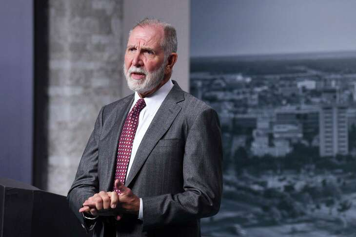 Texas A&M University President Michael K. Young talks Wednesday, Sept. 2, 2020 about his decision to stay in College Station as director of the school's Institute for Religious Liberties and International Affairs following his planned retirement next year. (Laura McKenzie/College Station Eagle via AP)