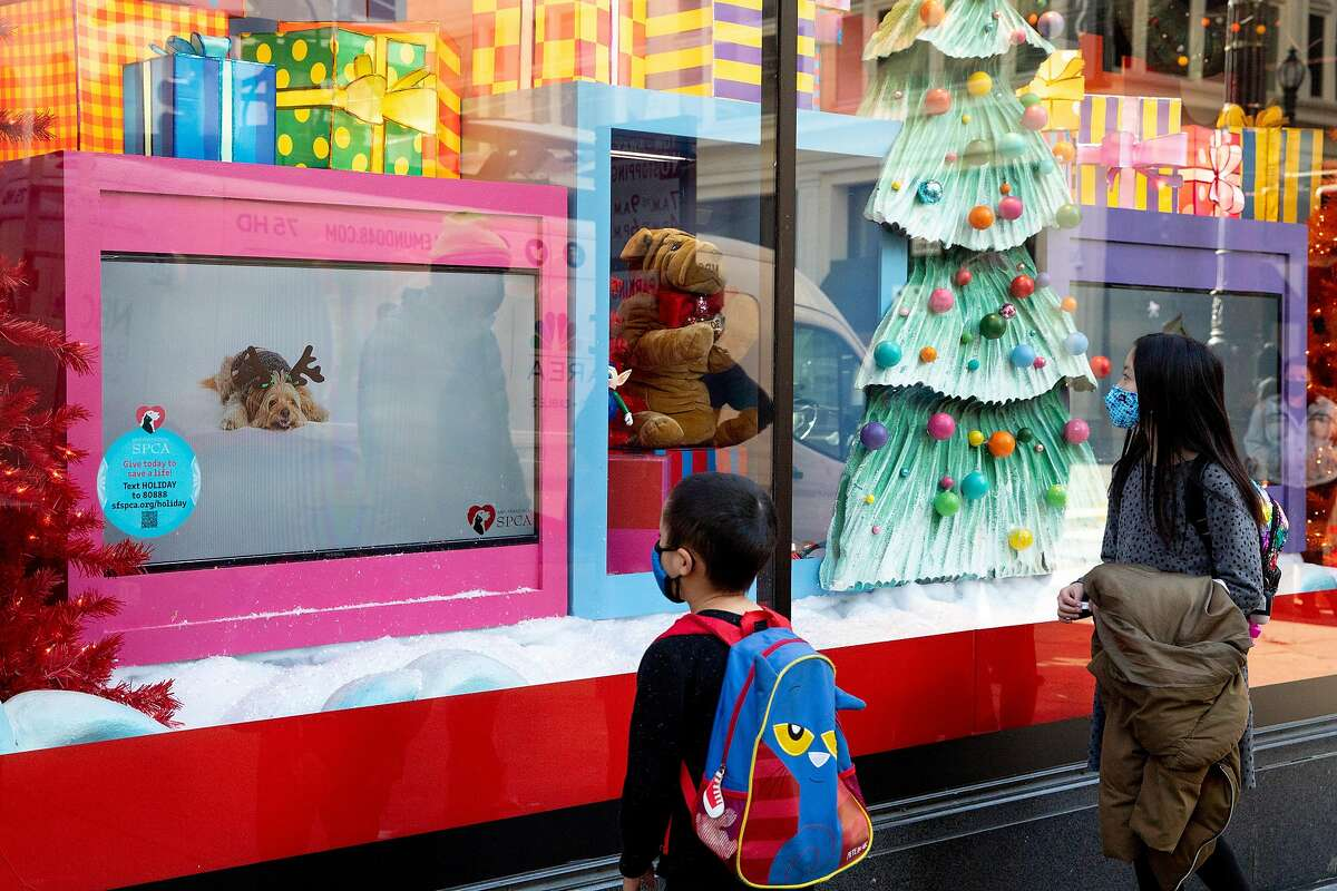 Madison and Grayson watch videos of puppies and kittens available from the SF SPCA in Macy's holiday-themed windows. The annual live displays have been forgone during the coronavirus pandemic.