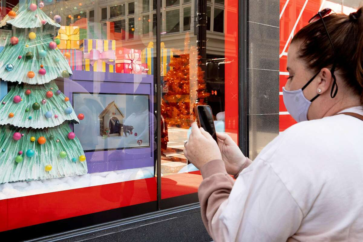Andrea Sowers of Pleasanton takes a video of screens displaying puppies and kittens from SF SPCA while visiting the holiday-decorated windows of Macy's in San Francisco.