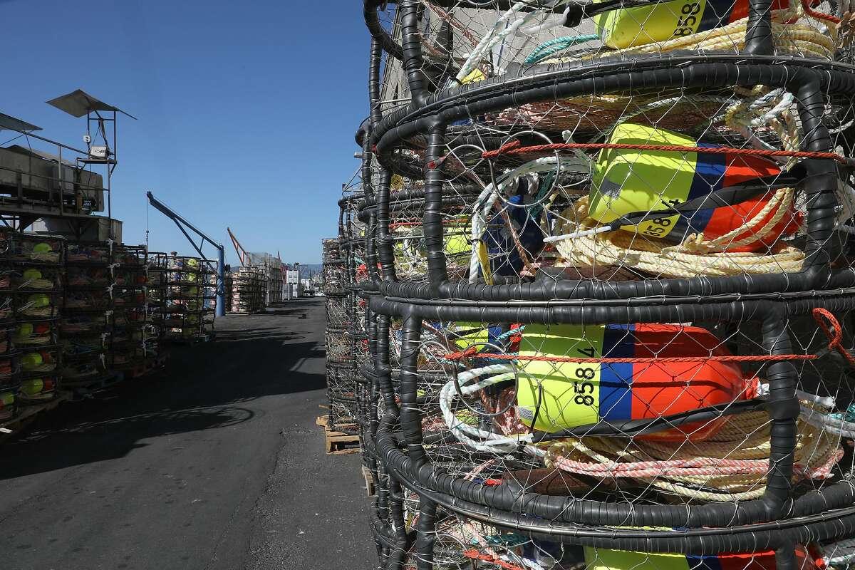 Crab pots sit at Pier 45 at Fisherman's Wharf in early November.