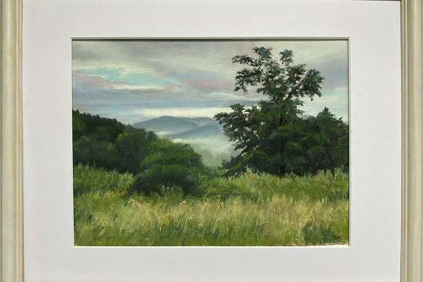 """Starting Nov. 24, the David M. Hunt Library in Falls Village, CT will present a special edition of its popular 12X12 year-end flash art exhibition. It will be on display during library operating hours and can be viewed on site by appointment, or online at www.huntlibrary.org/art-wall. Above, """"Early Morn on Beebe Hill"""", pastel by Marsha Altemus."""
