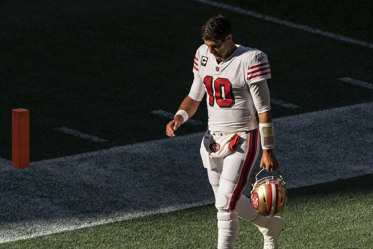 The high-ankle sprain 49ers QB Jimmy Garoppolo, seen here, suffered in Week 2 has sidelined him for four games (record: 1-3) and prevented him from finishing three others (record: 1-2).