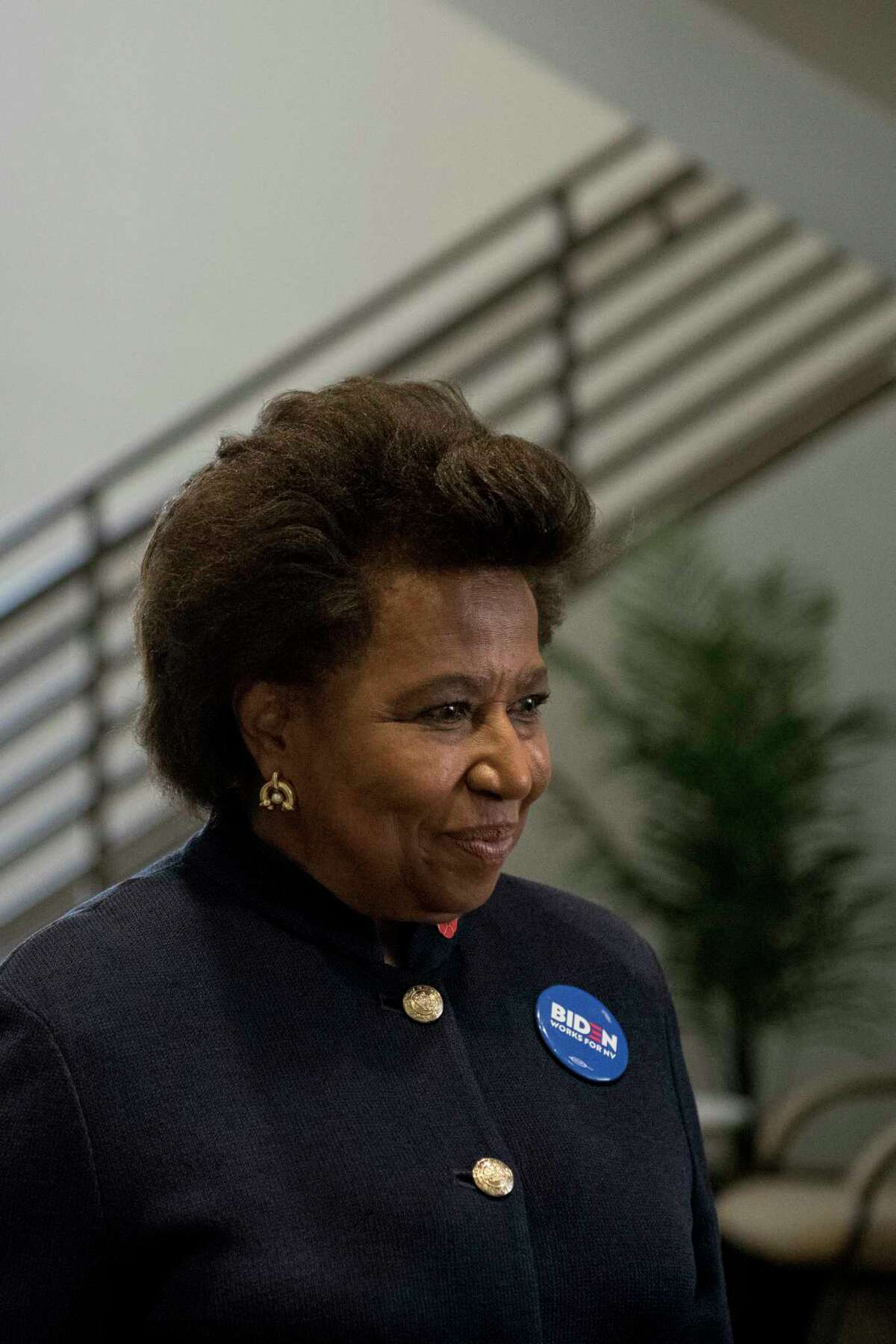Carol Moseley Braun, a former Democratic U.S. senator from Illinois, departs after meeting with community members while campaigning for Democratic presidential candidate Joe Biden in Las Vegas on Jan. 25.