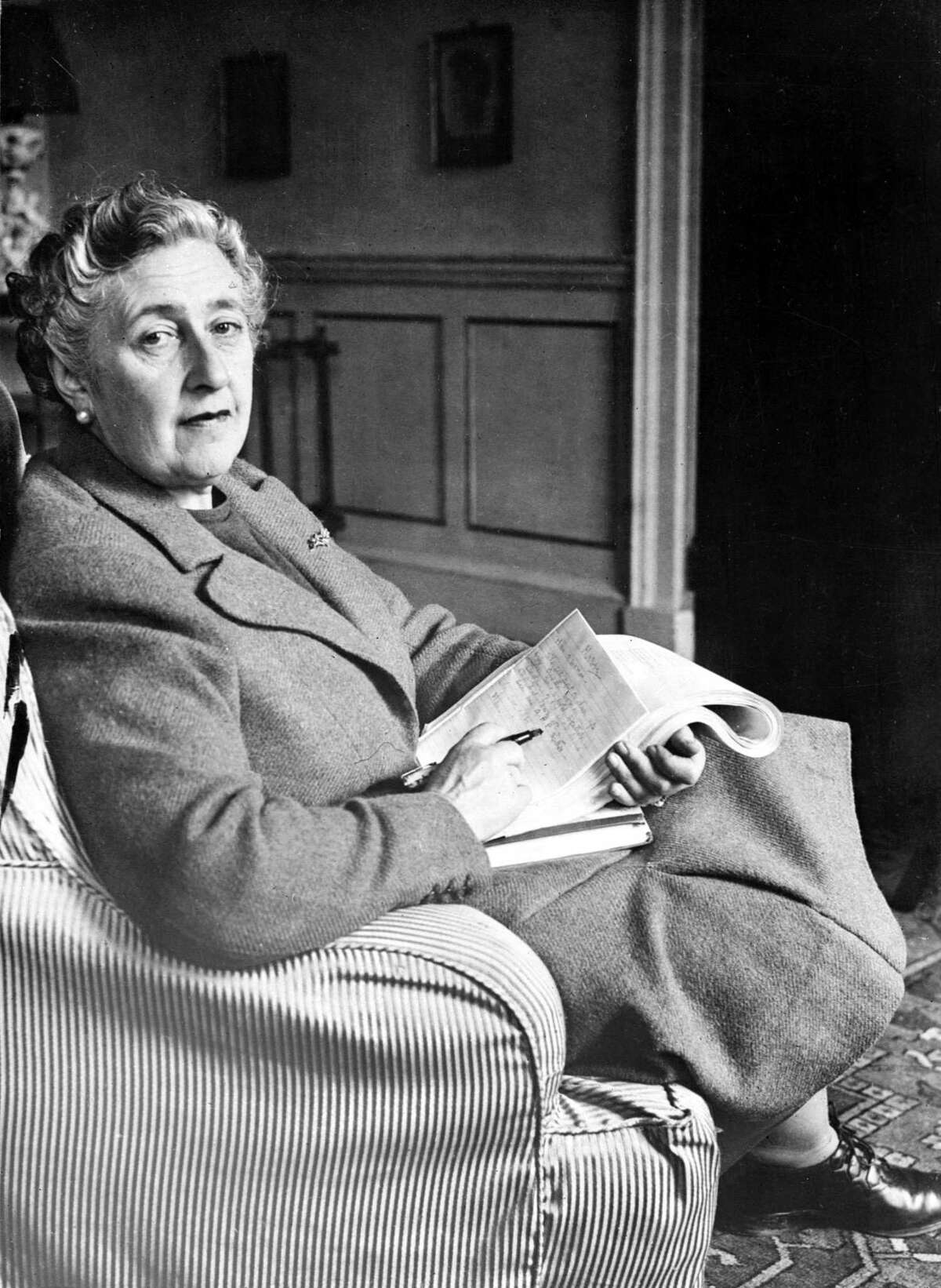 English writer Dame Agatha Christie in March 1946 in her home, Greenway House, in Devonshire.