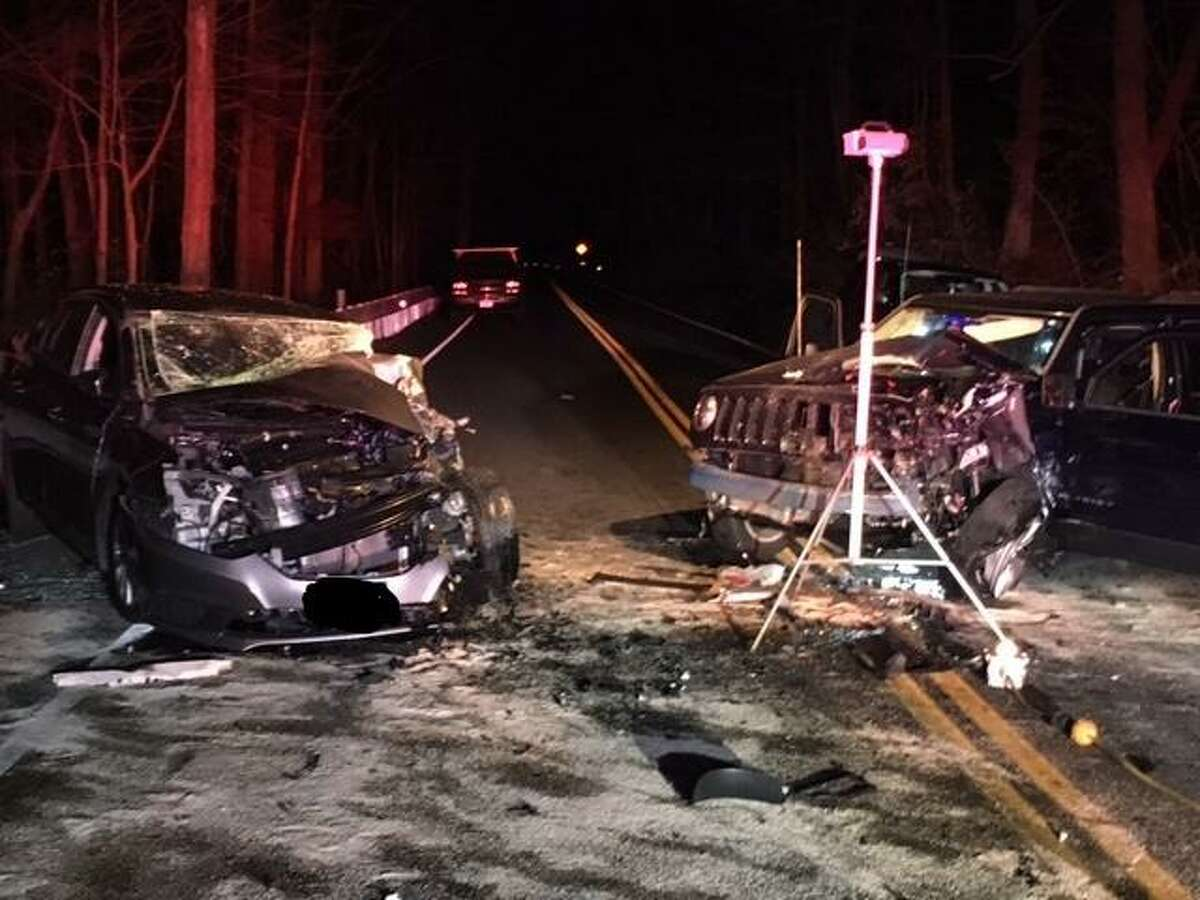 The aftermath of a three-vehicle collision on Route 59 in Easton, Conn., on Tuesday, Nov. 25, 2020.