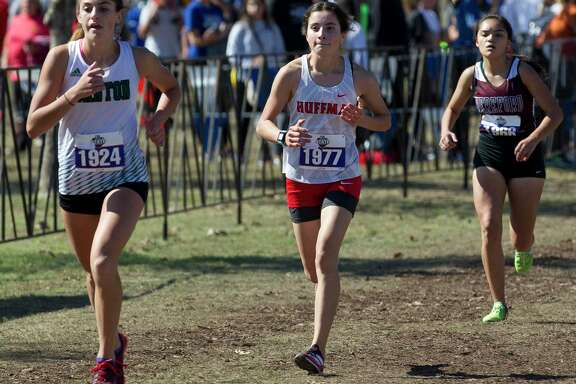 Jetzibe Trevino of Huffman Hargrave competes in the Class 4A girls race during the UIL State Cross Country Championships at Old Settlers Park, Saturday, Nov. 9, 2019, in Round Rock.