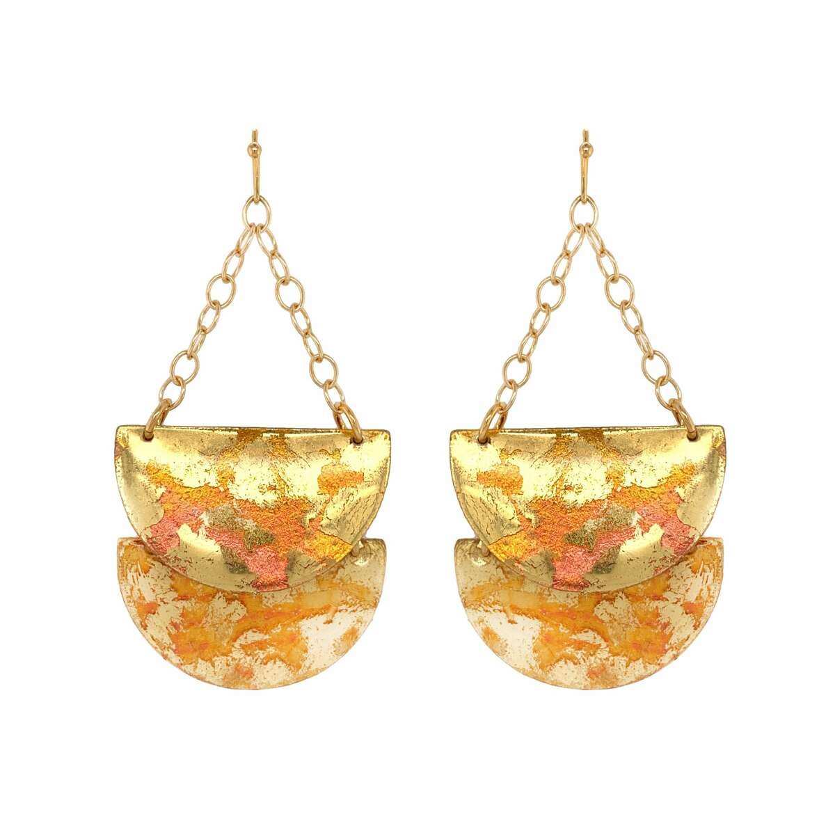 This pair of Astral Half Double semi circle earrings in 22K gold leaf and enamel from Evocateur in Norwalk. Barbara Ross-Innamorati, founder and designer of Norwalk's Évocateur, said she stepped up her social media presence in 2020 and did a variety of special events on Facebook/Instagram Live along with special promotions and giveaways.
