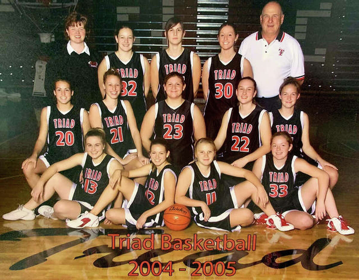 Bud Vallino, back row right, as an assistant coach with the 2004-05 Triad girls basketball team.