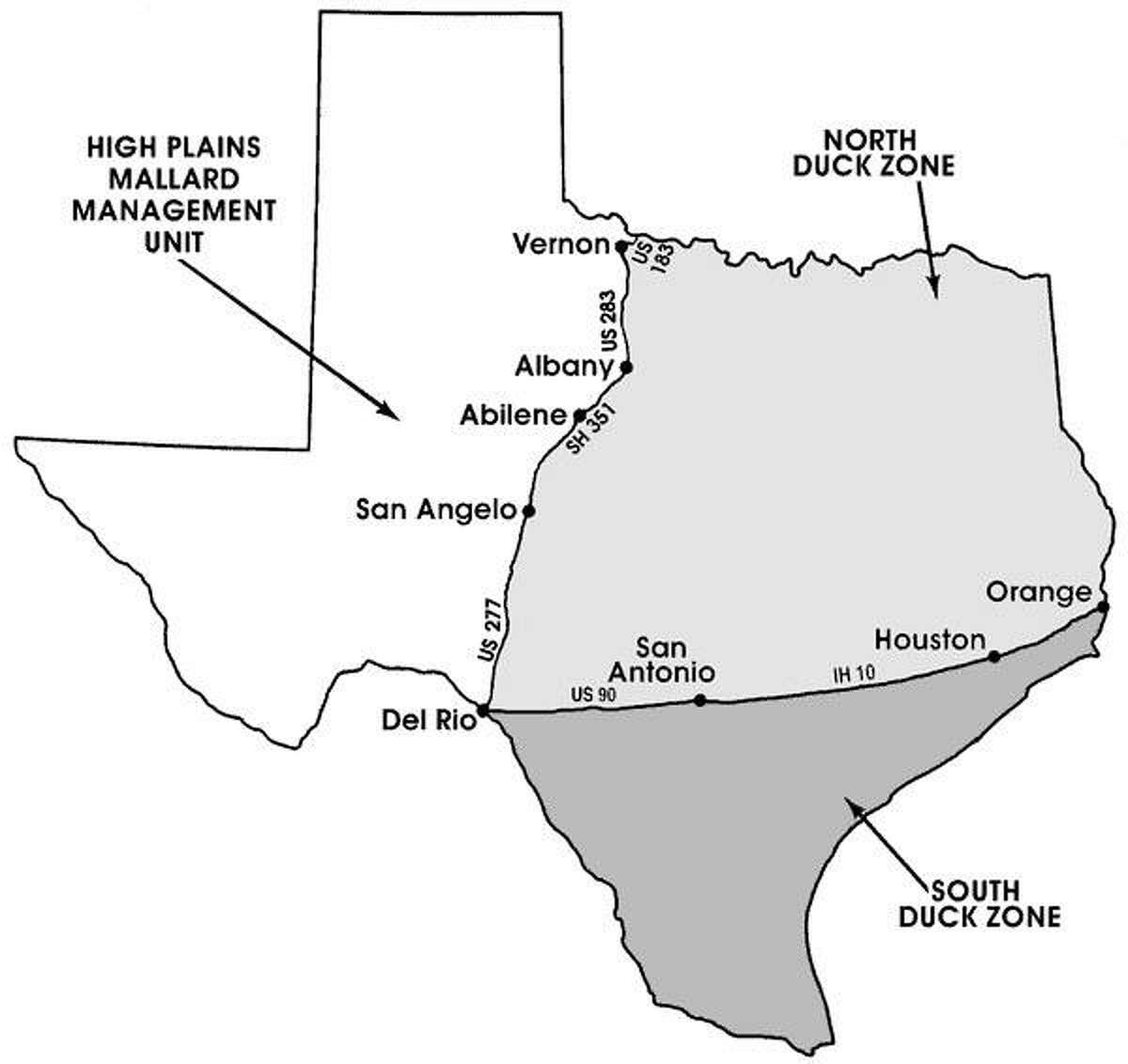 Texas Duck Hunting Zones Graph
