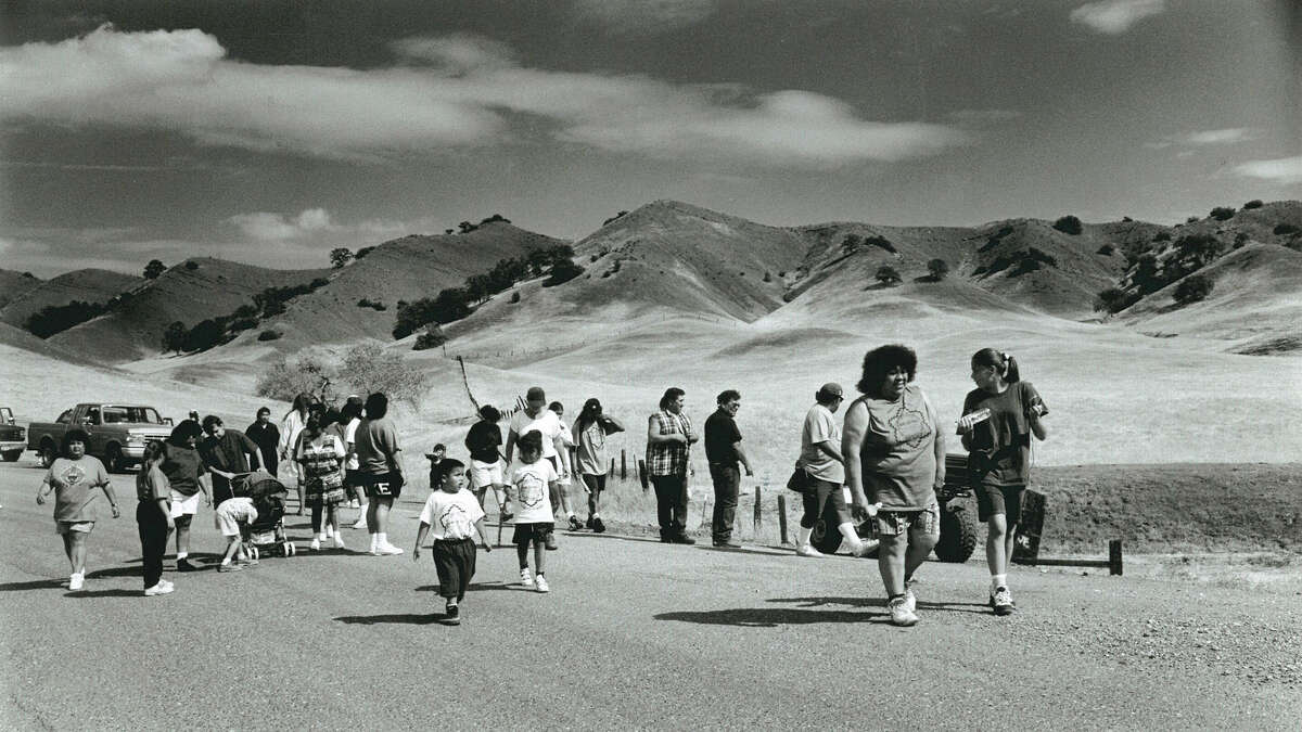 Members of the Round Valley Indian Tribe retrace the 1863 route of the Nome Cult Walk, a forced relocation of Indians from Chico to Covelo, Calif.