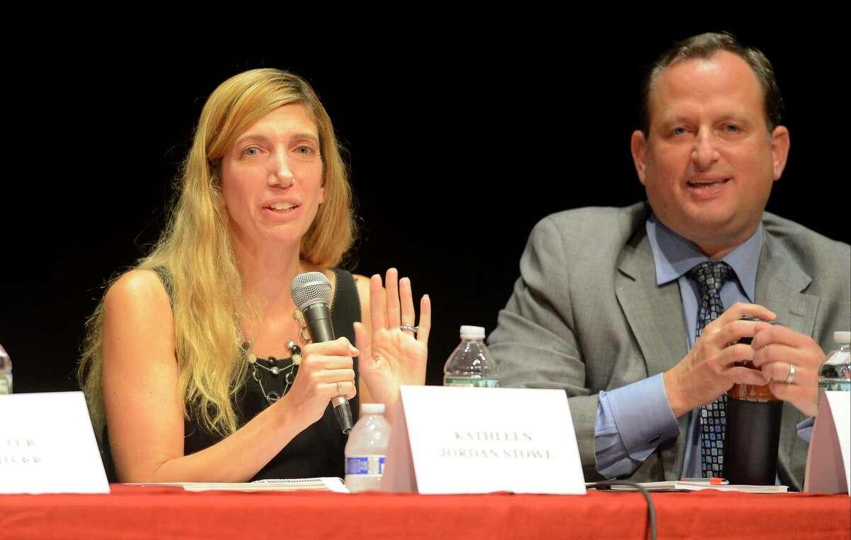 Greenwich Board of Education members Kathleen Stowe and Peter Bernstein in 2017.