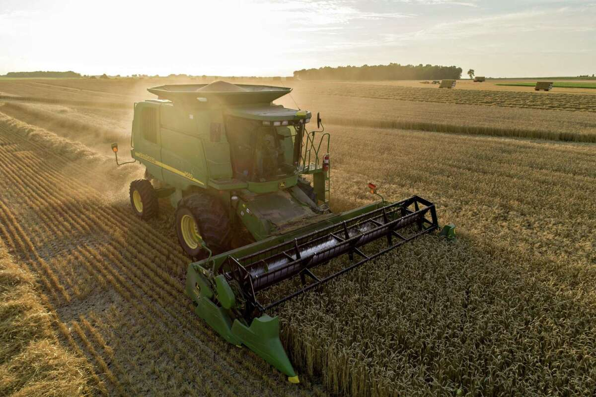 A Deere & Co. combine harvester in Kirkland, Ill., on July 17, 2020.
