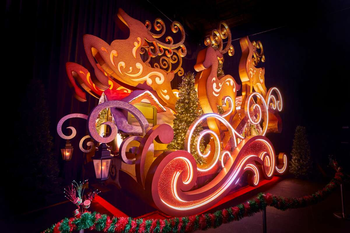 Santa's Sleigh, one of the Macy's Thanksgiving Day Parade floats at Universal Orlando.