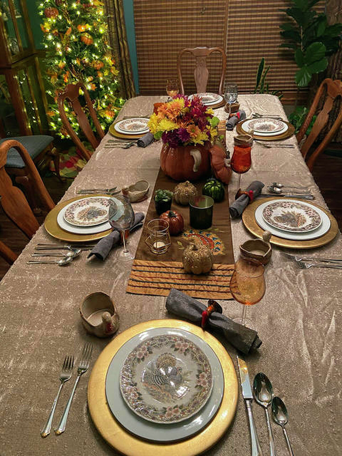 Another view of the Collins' holiday table.