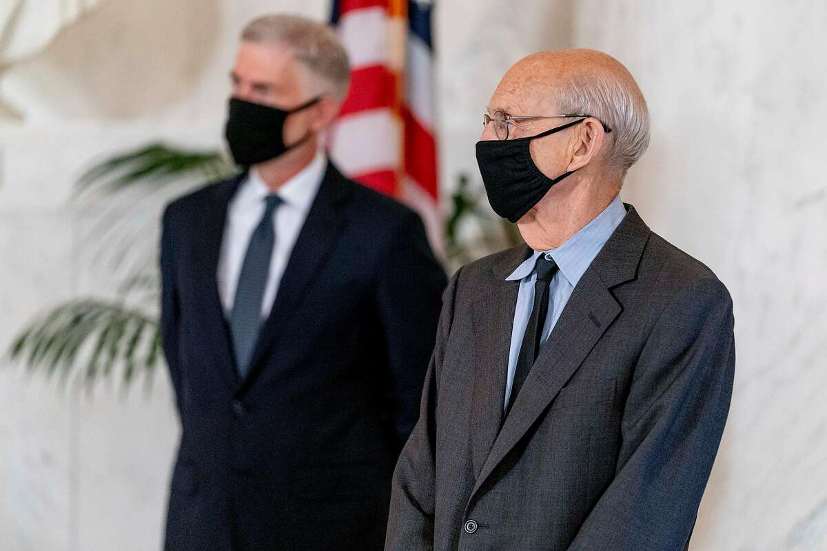 U.S. Supreme Court Justices Neil Gorsuch (left) and Stephen Breyer - discussions among the justice have changed since they starting holding hearings in a remote setting.