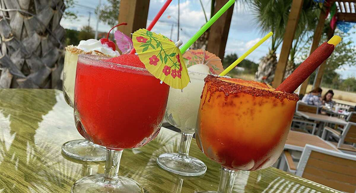 The drink menu includes frozen rum drinks, flavored margaritas and piña coladas at Tia's Taco Hut on Chase Hill Boulevard.