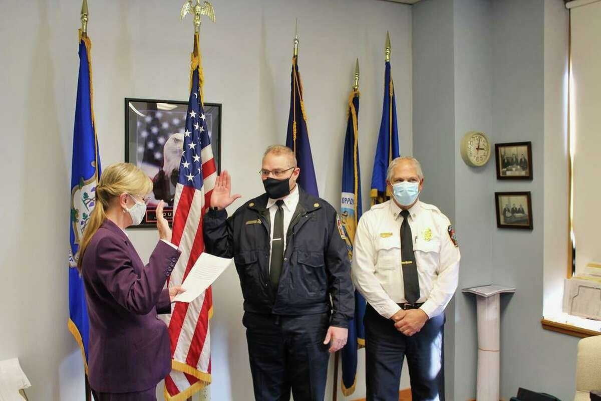 From left, West Haven Mayor Nancy R. Rossi, new Allingtown Fire Chief Michael R. Terenzio and Fire Marshal/Deputy Chief Michael Esposito.