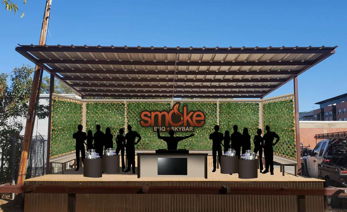 The sky bar features turf grass, 14 VIP areas, large screen TVs, music and of course, drinks. The new bar touts views of the downtown skyline from the east side of Interstate 37.