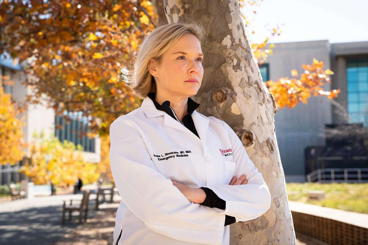 Andra Blomkalns, MD, MBA, Professor and Chair of Department of Emergency Medicine, poses for a photo near the Marc and Laura Andreessen Adult Emergency Department at Stanford Hospital in Palo Alto, Calif., on Tuesday, Nov. 24, 2020.