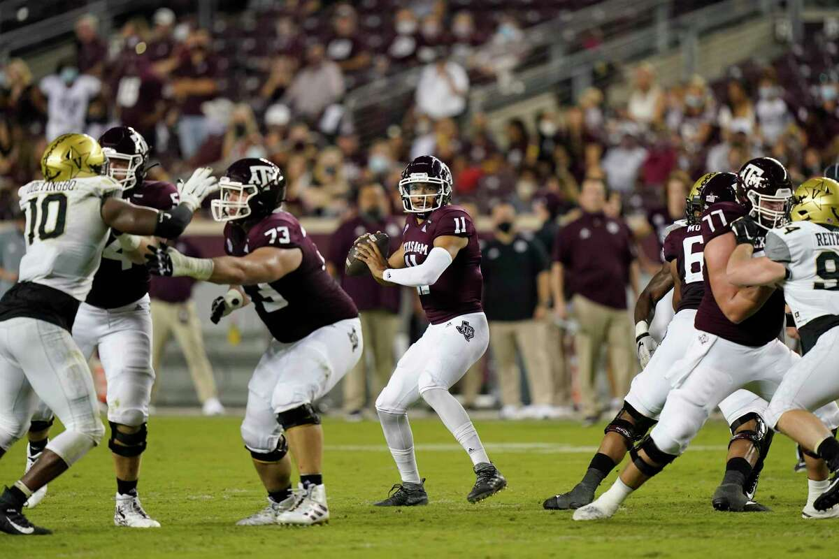 The A&M offensive line has kept the pressure off quarterback Kellen Mond for most of the season.