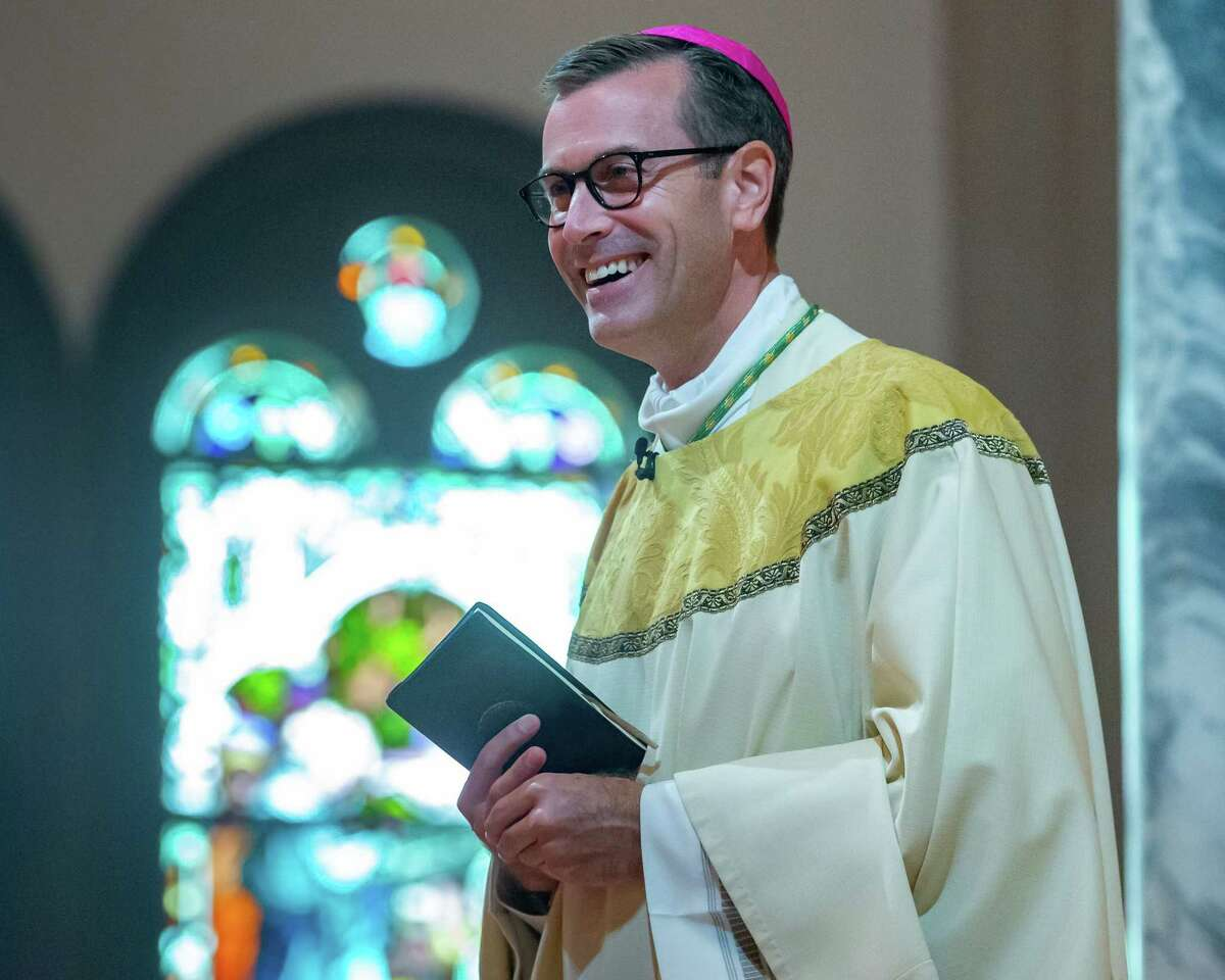 Bishop David Toups preaches his first homily in his new church. Newly ordained Bishop David Toups said his first Mass in his new home church, St. Anthony Cathedral Basilica since being ordained. Photo made on August 22, 2020. Fran Ruchalski/The Enterprise