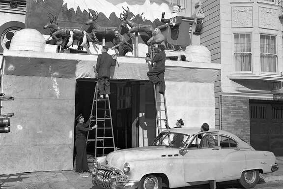 Dec. 19, 1949: San Francisco Fire Department employees dressed up the facades of their fire houses, in a Christmas-themed competition that lasted from 1948 to 1950.