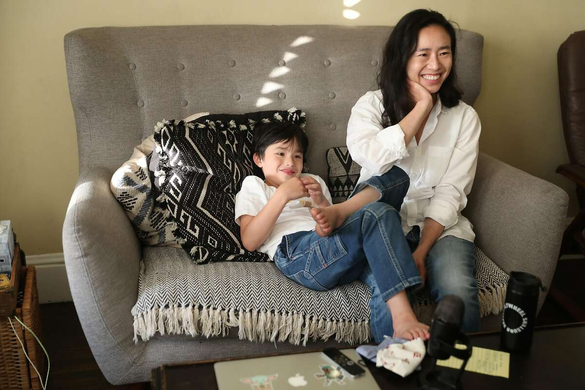Incoming San Francisco Supervisor Connie Chan, who was born in Hong Kong, with son Edo Marsullo, 7, at home.